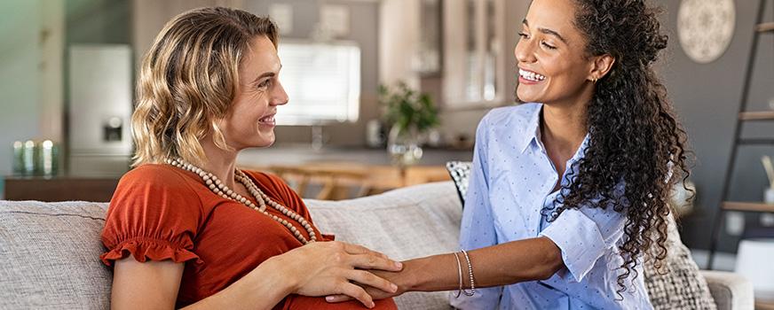 Pregnant Lesbian Couple After Successful Fertility Treatment